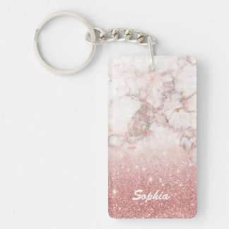 Custom Name Faux Rose Gold Glitter White Marble Keychain
