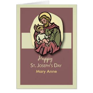 Custom Name Feast of St. Joseph Brown Card