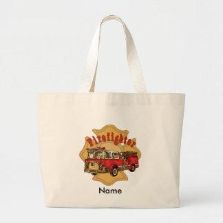 Custom Name Firefighter Firetruck Canvas Bags