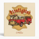 Custom Name Firefighter Firetruck Vinyl Binders