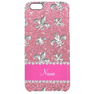 Custom name fleur de lis fuchsia pink glitter uncommon clearly™ deflector iPhone 6 plus case