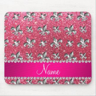 Custom name fleur de lis fuchsia pink glitter mouse pad