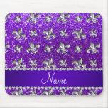 Custom name fleur de lis indigo purple glitter mouse pad