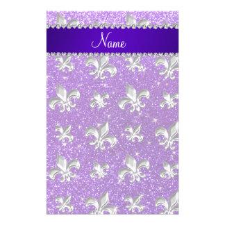 Custom name fleur de lis indigo purple glitter stationery