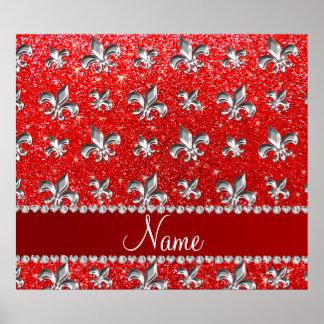 Custom name fleur de lis neon red glitter print