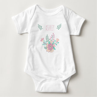 Custom Name Floral Baby Girl Jersey Bodysuit