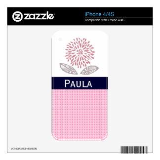 Custom Name Floral Chrysanthemum Skins For iPhone 4S
