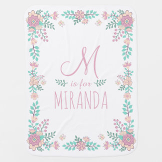 Custom Name Floral Monogram Baby Girl Blanket