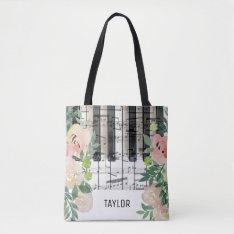 Custom Name Floral Music Notes Piano Tote Bag at Zazzle