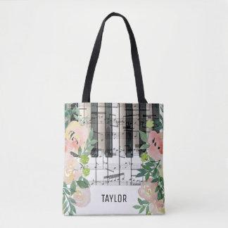 custom name floral music notes piano tote bag