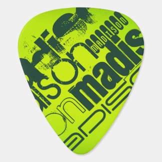 Custom Name; Forest Green & Neon Chartreuse Yellow Pick