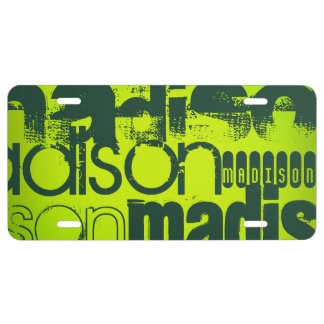 Custom Name; Forest Green & Neon Chartreuse Yellow License Plate