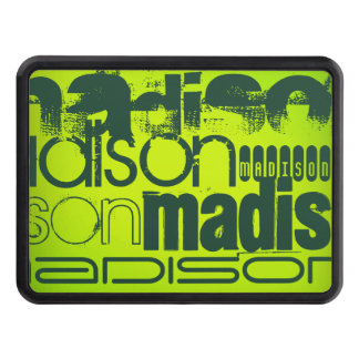 Custom Name; Forest Green & Neon Chartreuse Yellow Tow Hitch Cover