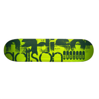 Custom Name; Forest Green & Neon Chartreuse Yellow Skateboard