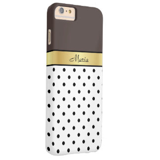 Custom Name French Roast Brown WhiteBlack PolkaDot Barely There iPhone 6 Plus Case