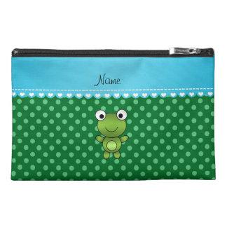 Custom name frog green polka dots travel accessories bag
