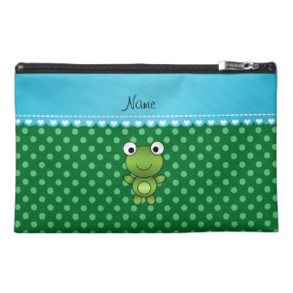 Custom name frog green polka dots travel accessory bag