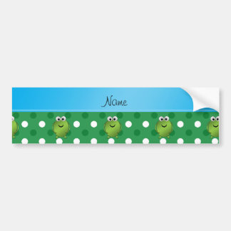 Custom name frog green white dots blue stripe bumper stickers