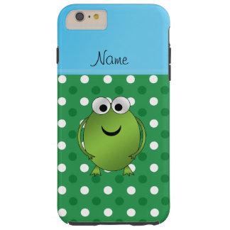 Custom name frog green white dots blue stripe tough iPhone 6 plus case