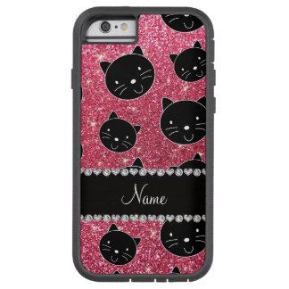 Custom name fuchsia pink glitter black cat faces tough xtreme iPhone 6 case