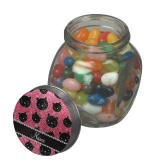 Custom name fuchsia pink glitter black cat faces glass candy jars