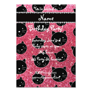 Custom name fuchsia pink glitter black cat faces 5x7 paper invitation card