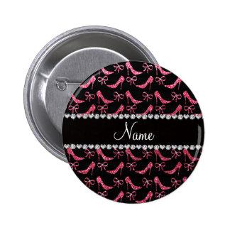 Custom name fuchsia pink glitter high heels bow pinback button