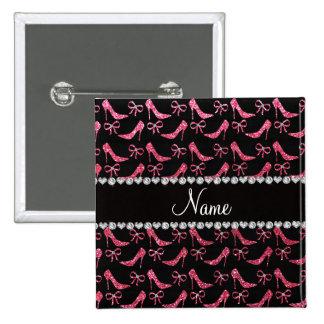 Custom name fuchsia pink glitter high heels bow pin