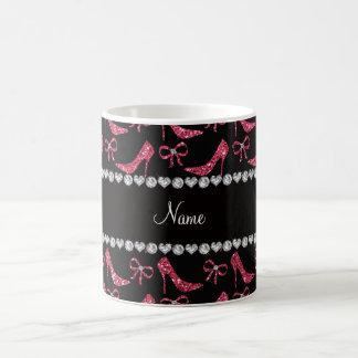 Custom name fuchsia pink glitter high heels bow coffee mug
