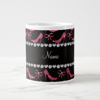Custom name fuchsia pink glitter high heels bow giant coffee mug