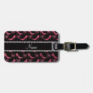 Custom name fuchsia pink glitter high heels bow luggage tag