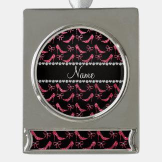 Custom name fuchsia pink glitter high heels bow silver plated banner ornament
