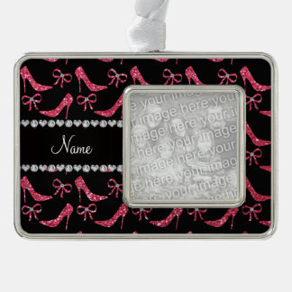 Custom name fuchsia pink glitter high heels bow silver plated framed ornament