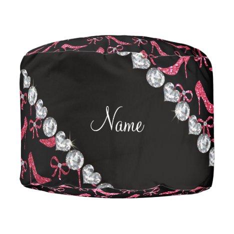 Custom name fuchsia pink glitter high heels bow pouf
