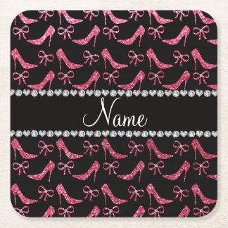 Custom name fuchsia pink glitter high heels bow square paper coaster