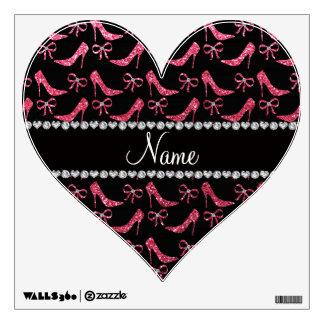 Custom name fuchsia pink glitter high heels bow wall graphic