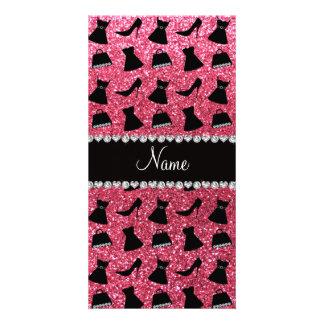 Custom name fuchsia pink glitter high heels dress photo card