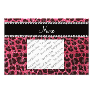 Custom name fuchsia pink glitter leopard print photo print