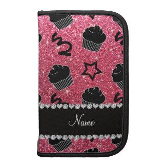 Custom name fuchsia pink glitter stars cupcakes folio planner