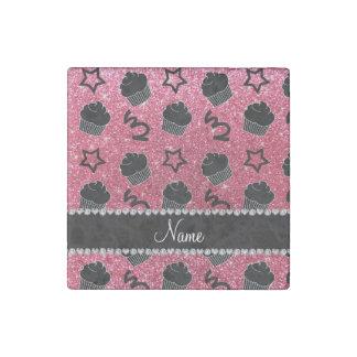Custom name fuchsia pink glitter stars cupcakes stone magnet