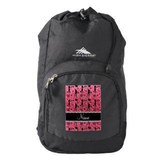Custom name fuchsia pink glitter tennis hearts bow backpack