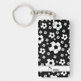 Custom name fun black soccer balls white stripe Double-Sided rectangular acrylic keychain