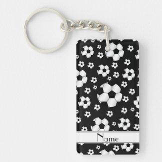 Custom name fun black soccer balls white stripe keychain