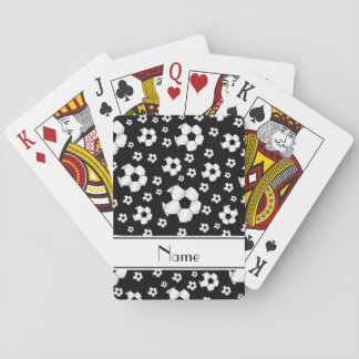 Custom name fun black soccer balls white stripe playing cards