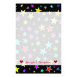 [ Thumbnail: Custom Name + Fun, Colorful Stars Pattern Stationery ]