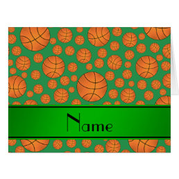 Custom name fun green basketballs green stripe card