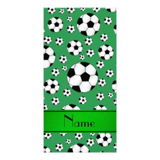 Custom name fun green soccer balls green stripe card