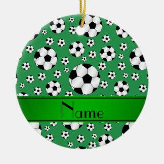 Custom name fun green soccer balls green stripe ceramic ornament