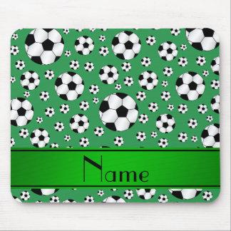 Custom name fun green soccer balls green stripe mouse pad