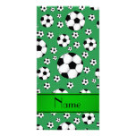 Custom name fun green soccer balls green stripe photo card